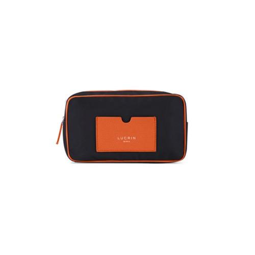Nylon Leather Dopp Kit (19.5 x 12.5 x7.5 cm) - Orange-Black - High-end nylon