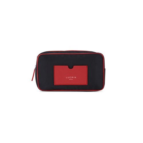Trousse de toilette en nylon et cuir (19,5 x 12,5 x 7,5 cm) - Rouge-Noir - Nylon haut de gamme