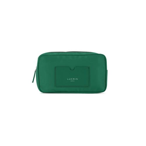 Trousse de toilette en nylon et cuir (19,5 x 12,5 x 7,5 cm) - Vert Foncé-Vert Foncé - Nylon haut de gamme