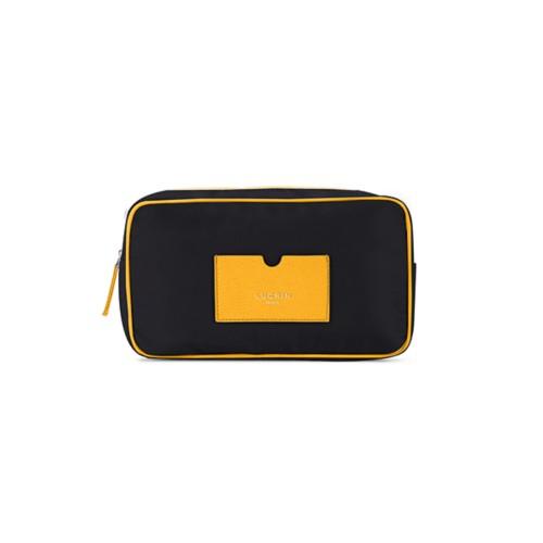 Neceser de cuero y nailon (25 x 14.5 x 10 cm) - Amarillo sol-Negro - Canvas