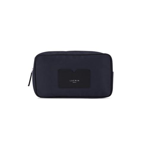 Neceser de cuero y nailon (25 x 14.5 x 10 cm) - Negro-Azul marino - Canvas