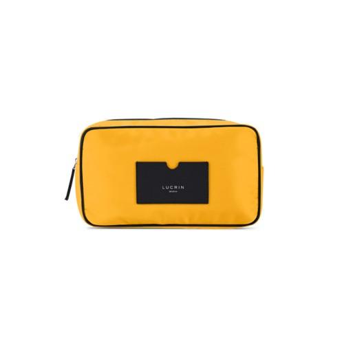 Neceser de cuero y nailon (25 x 14.5 x 10 cm) - Negro-Amarillo sol - Canvas