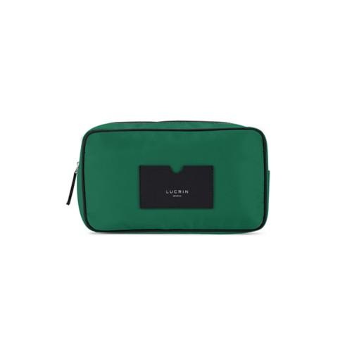 Neceser de cuero y nailon (25 x 14.5 x 10 cm) - Negro-Verde Oscuro - Canvas