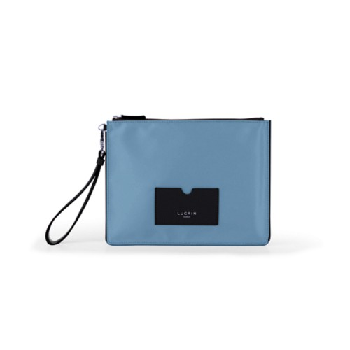 Nylon-Leather Zippered Clutch Bag - L - Black-Sky Blue - High end nylon
