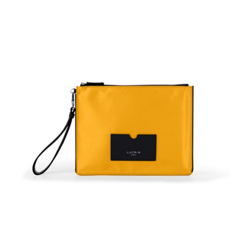 Nylon-Leather Zippered Clutch Bag - L - Black-Sun Yellow - High end nylon