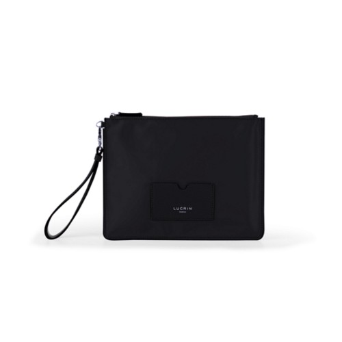 Nylon-Leather Zippered Clutch Bag - L - Black-Black - High end nylon