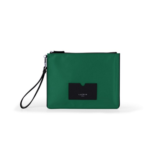 Nylon-Leather Zippered Clutch Bag - L - Black-Dark Green - High end nylon