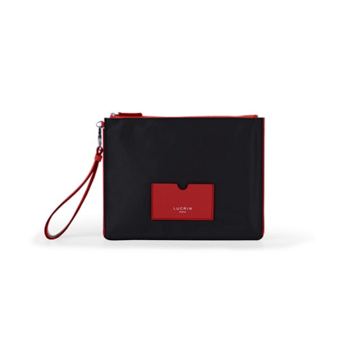 Nylon-Leather Zippered Clutch Bag - L - Red-Black - High end nylon