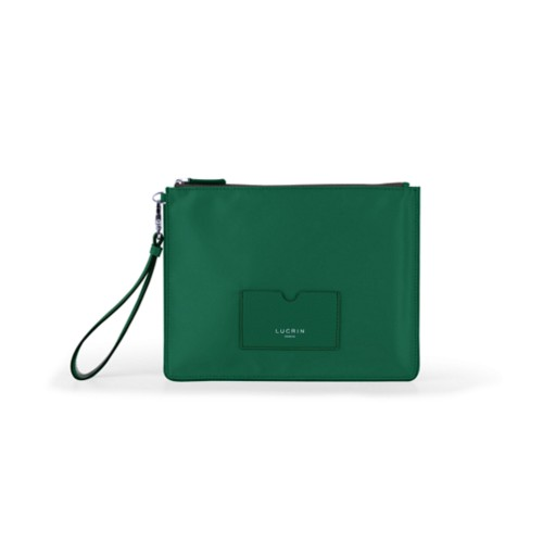 Nylon-Leather Zippered Clutch Bag - L - Dark Green-Dark Green - High end nylon