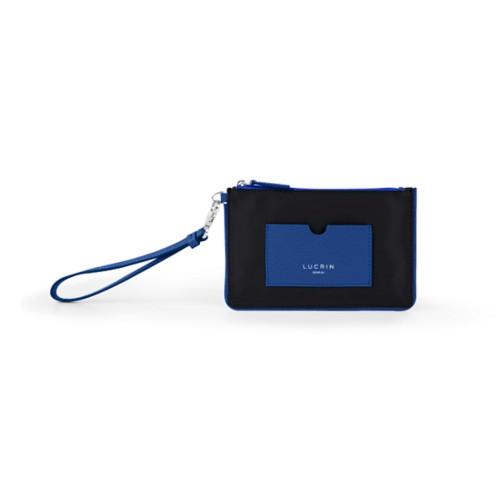 Reißverschluss-Clutch aus Nylon und Leder - S - Azurblau-Schwarz - Canvas