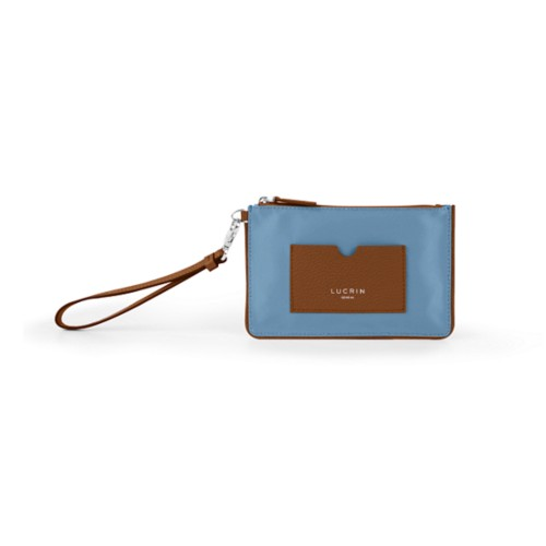 Reißverschluss-Clutch aus Nylon und Leder - S - Cognac-Himmelblau - Canvas