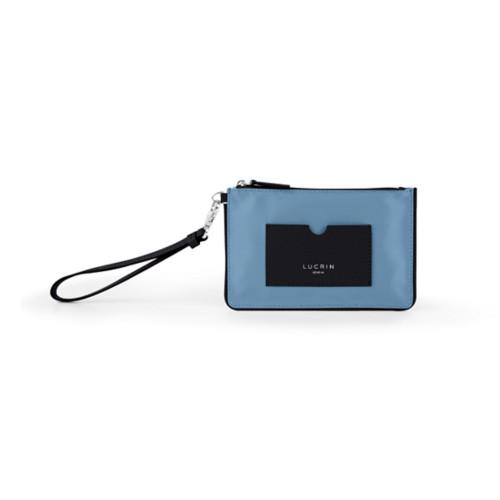 Reißverschluss-Clutch aus Nylon und Leder - S - Schwarz-Himmelblau - Canvas