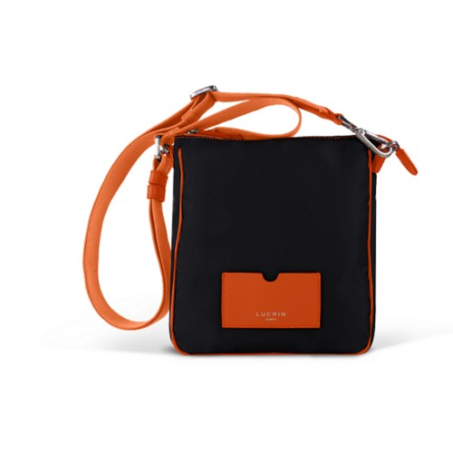Small Nylon Leather Crossbody Bag - Orange-Black - High end nylon