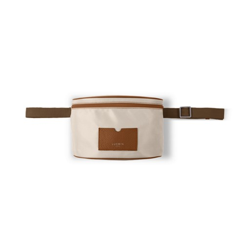 Nylon Leather Fanny Pack - Tan-Beige - High end nylon