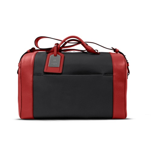 Holdall - Black-Red - Granulated Leather