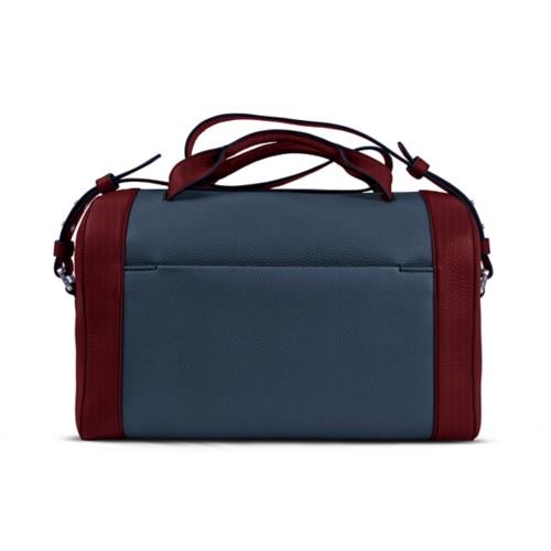 Weekender - Navy Blue-Burgundy - Granulated Leather