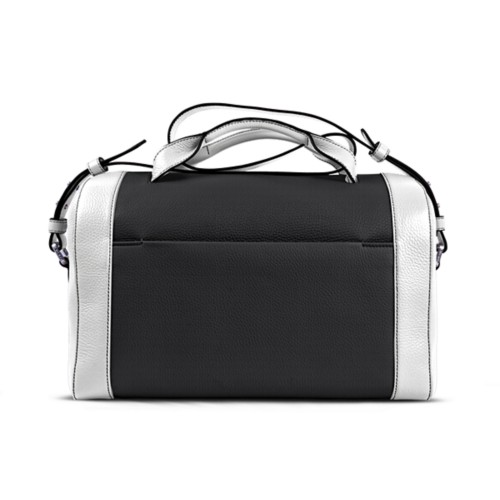 Weekender - Black-White - Granulated Leather