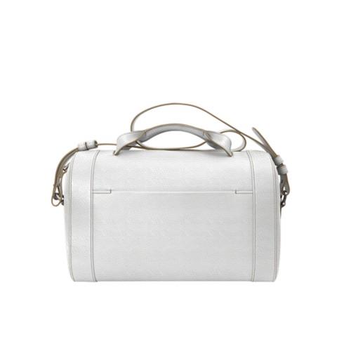 Handtasche im Bowling-Stil - Weiss - Genarbtes Leder