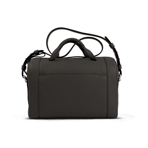 Handtasche im Bowling-Stil - Dunkelbraun - Genarbtes Leder