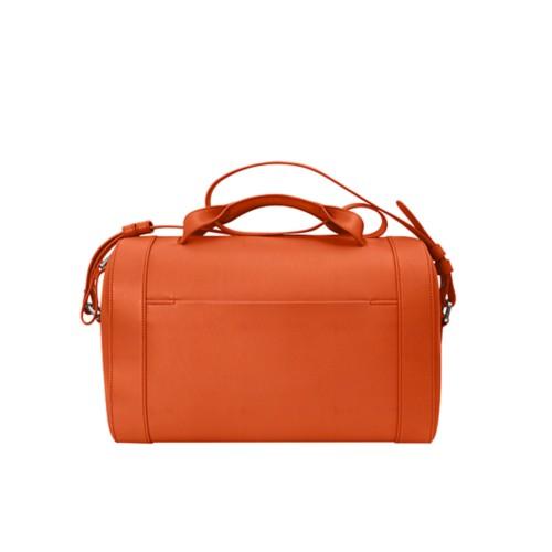 Handtasche im Bowling-Stil - Orange - Genarbtes Leder