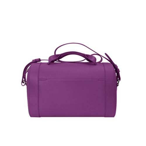 Handtasche im Bowling-Stil - Violett - Genarbtes Leder
