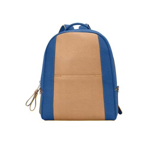 バックパック - Natural-Royal Blue - Granulated Leather
