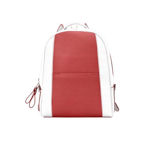 バックパック - Red-White - Granulated Leather