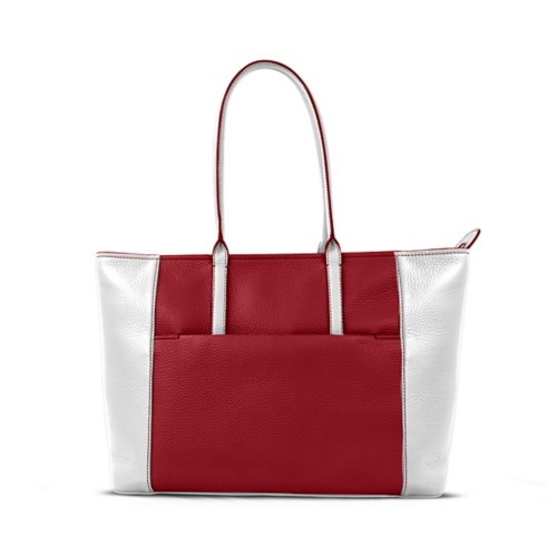 Tote - Amaranto-White - Granulated Leather