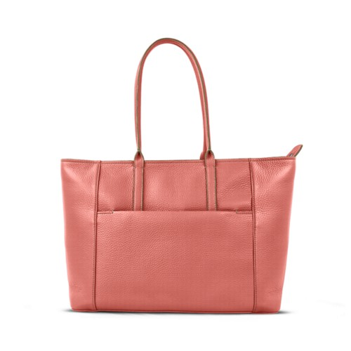 Tote - Coral - Granulated Leather
