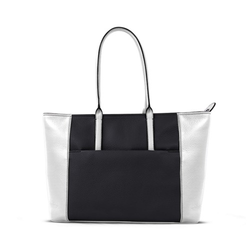 Tote - Black-White - Granulated Leather