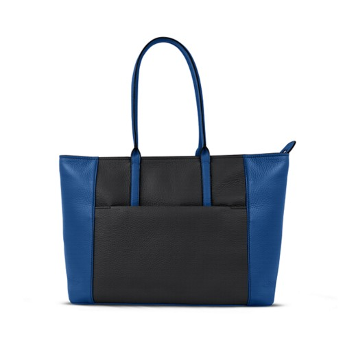 Tote - Black-Royal Blue - Granulated Leather