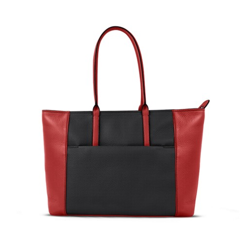 Tote - Black-Red - Granulated Leather