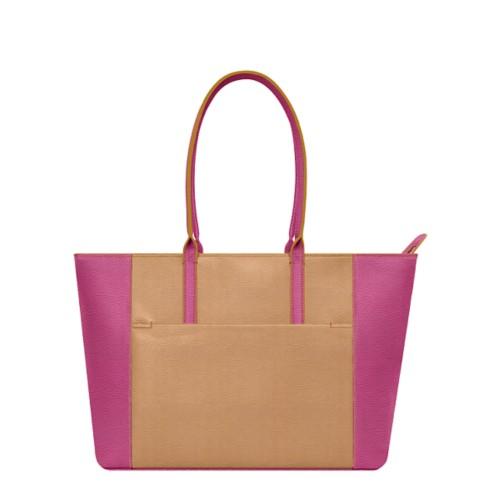 Tote - Natural-Fuchsia - Granulated Leather