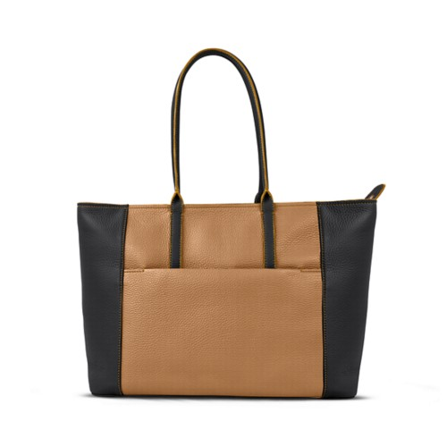 Tote - Natural-Black - Granulated Leather