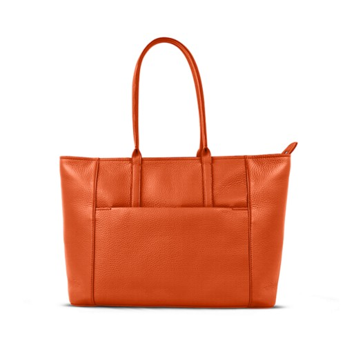 Tote - Orange - Granulated Leather
