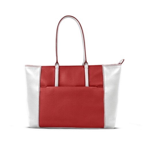Tote - Red-White - Granulated Leather