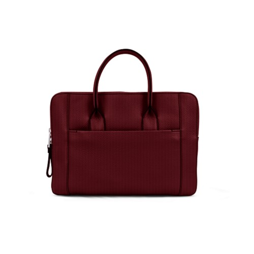 Briefcase (13 inch) - Burgundy - Granulated Leather