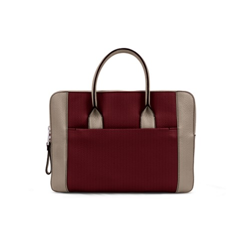 Briefcase (13 inch) - Burgundy-Mink - Granulated Leather