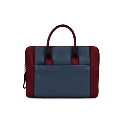 Briefcase (13 inch) - Navy Blue-Burgundy - Granulated Leather