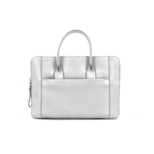 Briefcase (13 inch) - White - Granulated Leather