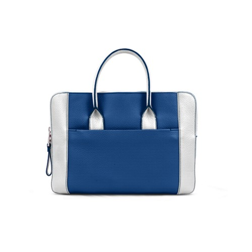 Briefcase (13 inch) - Royal Blue-White - Granulated Leather