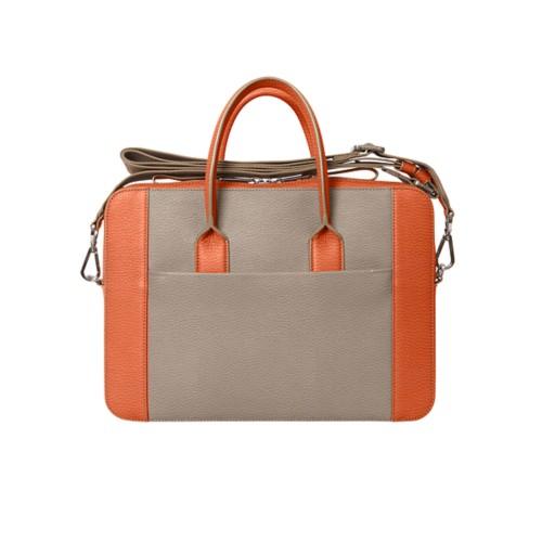 Briefcase (13 inch) - Mink-Orange - Granulated Leather