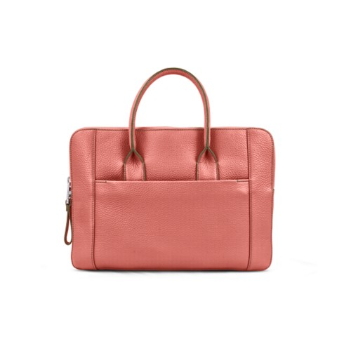 Briefcase (13 inch) - Coral - Granulated Leather