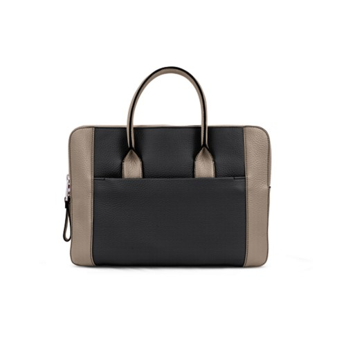 Briefcase (13 inch) - Black-Mink - Granulated Leather
