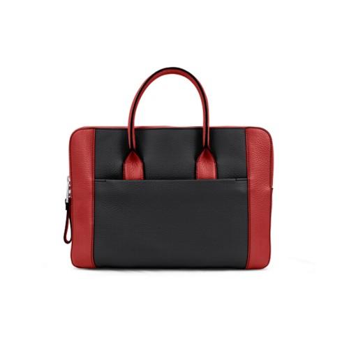 Briefcase (13 inch) - Black-Red - Granulated Leather