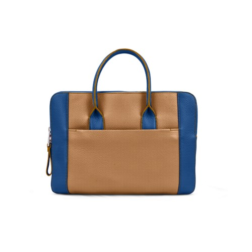 Briefcase (13 inch) - Natural-Royal Blue - Granulated Leather