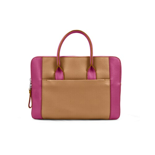 Briefcase (13 inch) - Natural-Fuchsia - Granulated Leather