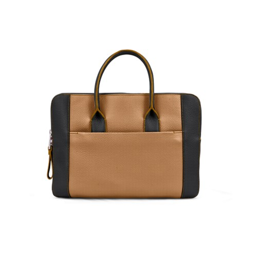 Briefcase (13 inch) - Natural-Black - Granulated Leather
