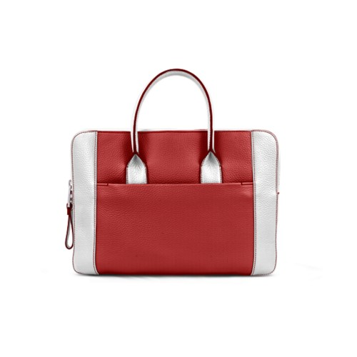 Briefcase (13 inch) - Red-White - Granulated Leather