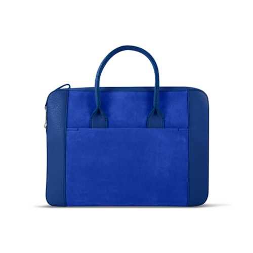 Briefcase (13 inch) - Royal Blue - Suede Calf
